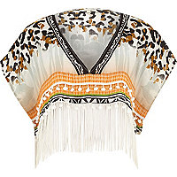 Beige animal print fringed cape