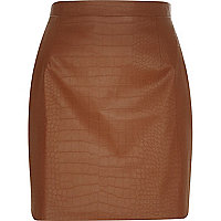 Brown leather-look mock croc mini skirt