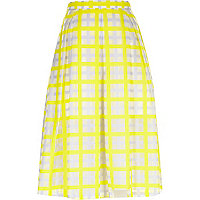 Yellow woven check midi skirt