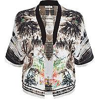 Cream jungle print kimono