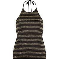 Gold stripe halter neck top