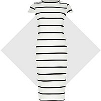 White and black stripe bodycon midi dress