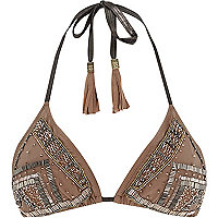 Nude Pacha embellished triangle bikini top