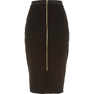 Black zip front pencil skirt
