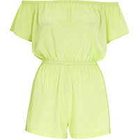 Lime green bardot playsuit