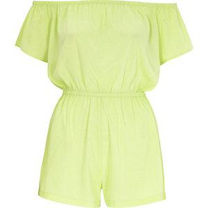 Lime green bardot playsuit