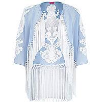 Light blue fringed kimono