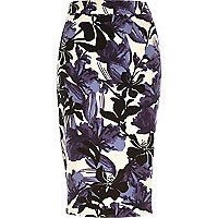 Purple floral print woven pencil skirt