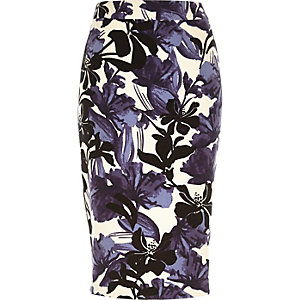 Purple floral print woven pencil skirt