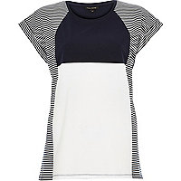 Navy stripe colour block oversized t-shirt