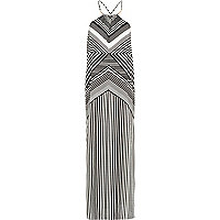 Black and white print strappy maxi dress