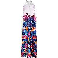 Pink tropical print halter neck maxi dress