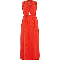 Orange animal print maxi dress