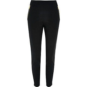 Navy zip capri trousers