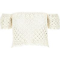 Cream crochet bardot top