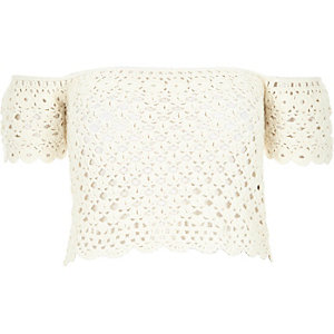 Cream crochet bardot top