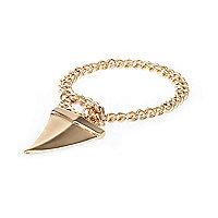 Gold tone chunky chain tusk bracelet
