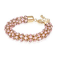 Gold tone pink diamante rope bracelet