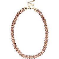 Gold tone pink diamante rope necklace