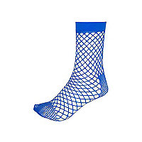 Blue fishnet ankle socks