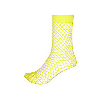 Yellow fishnet ankle socks