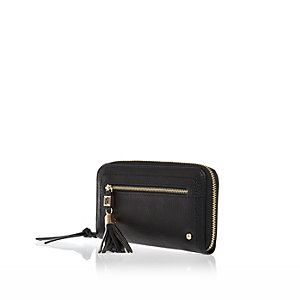 Black zip around tassel purse