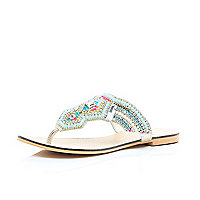 Silver leather embellished sandals