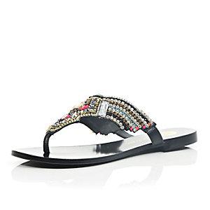 Black leather gem embellished sandals