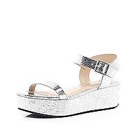 Silver metallic chunky flatform sandals
