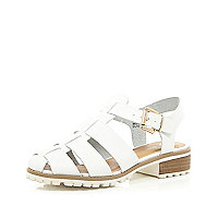 White cleated sole sling back sandals
