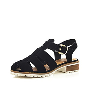 Black cleated sole sling back sandals
