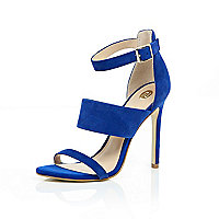 Bright blue suede three strap sandals