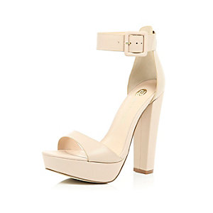Nude leather platform sandals