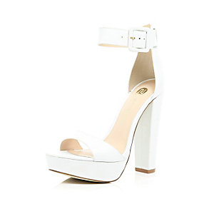 White leather platform sandals