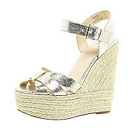 Gold metallic high wedges