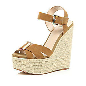 Brown suede high wedges