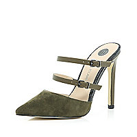 Dark green suede point double strap mules