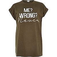 Khaki me wrong never print oversized t-shirt