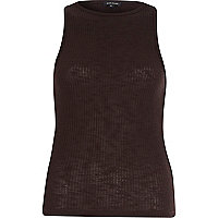 Brown ribbed racer back vest