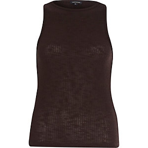 Brown ribbed racer back tank