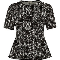 Black monochrome print peplum top