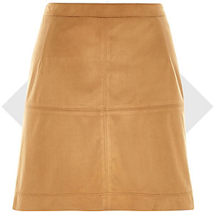 Brown faux suede A-line skirt