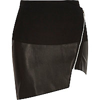 Black leather-look asymmetric wrap skirt