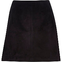 Black faux suede A-line skirt