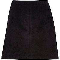 Black faux suede A-line skirt