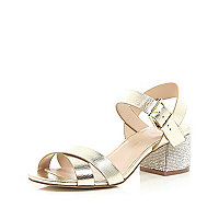 Gold leather diamante block heel sandals
