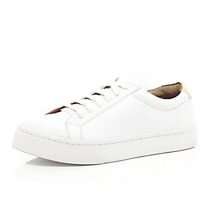 White lace up plimsoll trainers