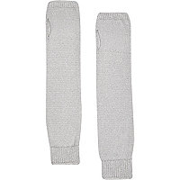 Grey fine knitted hand warmers