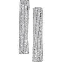 Grey chunky knitted hand warmers