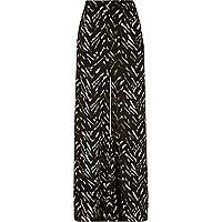 Khaki zebra print palazzo trousers